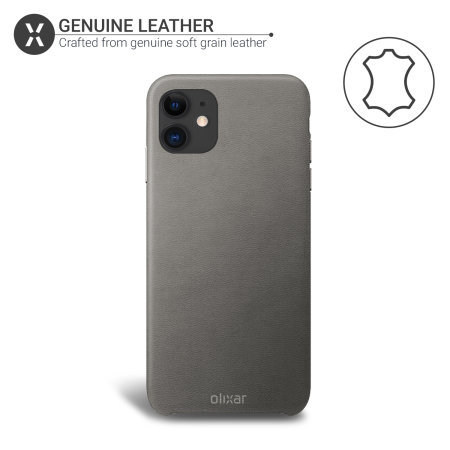 Olixar Genuine Leather iPhone 11 Case - Grey