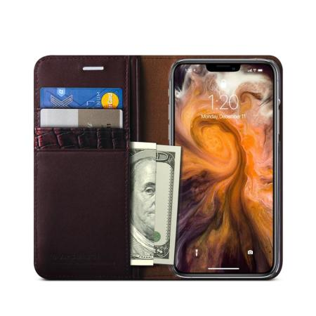 VRS Design Genuine Leather Diary iPhone 11 Pro Max Case - Wine