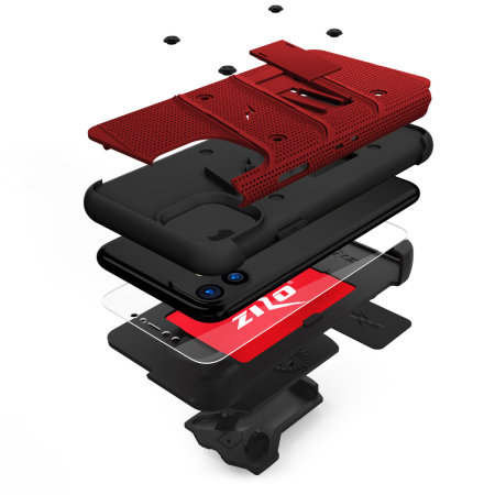 Zizo Bolt Series iPhone 11 Case & Screen Protector - Red/Black
