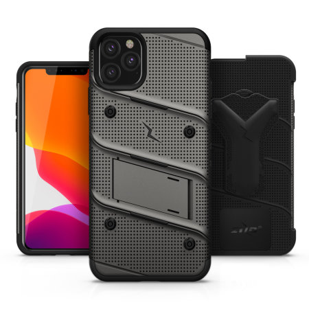 Zizo Bolt Series iPhone 11 Pro Max Case & Screen Protector -Grey/Black