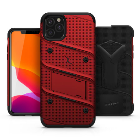 Zizo Bolt Series iPhone 11 Pro Max Case & Screen Protector - Red/Black