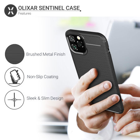 Olixar Sentinel iPhone 11 Pro Max Case & Glass Screen Protector -Black