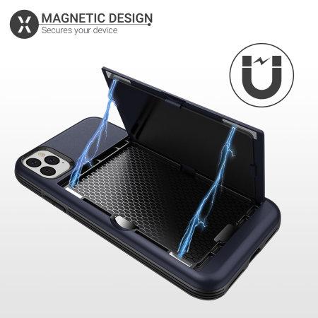 Coque iPhone 11 Pro Max Olixar Armour Vault avec porte-cartes – Bleu