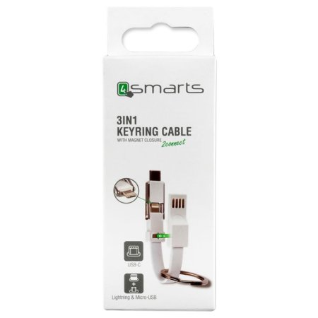 4smarts 3in1 Lightning, USB-C & Micro USB Cable KeyRing - White
