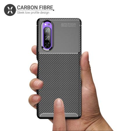 Olixar Sony Xperia 5 Carbon Fibre Case - Black