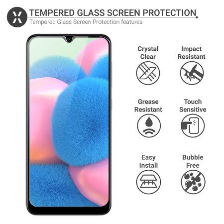 Olixar Samsung Galaxy A30s Tempered Glass Screen Protector - Black