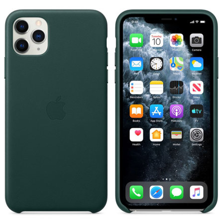 Official Apple iPhone 11 Pro Max Leather Case , Forest Green