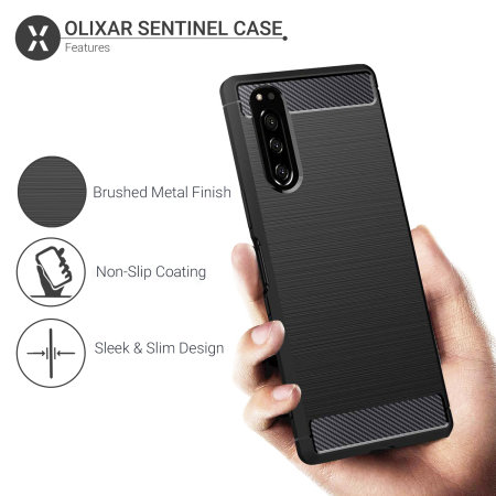 Olixar Sentinel Sony Xperia 5 Case & Glass Screen Protector - Black