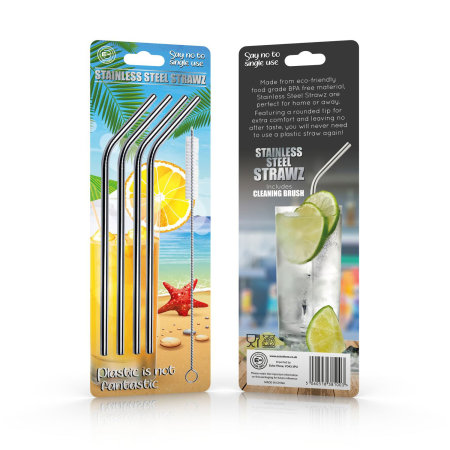 Echo Three Eco-Friendly Slim Stainless Steel Strawz 4 Set - Silver