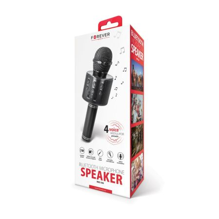Forever Karoke Microphone With Bluetooth Speaker - Black