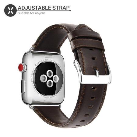 Olixar Genuine Leather Apple Watch  38mm/40mm Straps - Brown