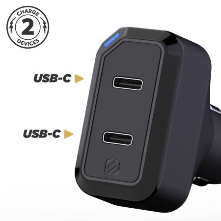 Scosche StrikeDrive Dual USB-C / PD Note 10 Plus Car Charger - Black