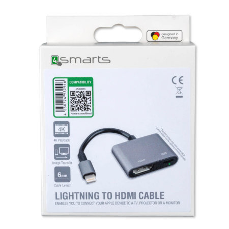 4smarts iPhone 7 Lightning to HDMI Full HD Adapter - Black/Grey