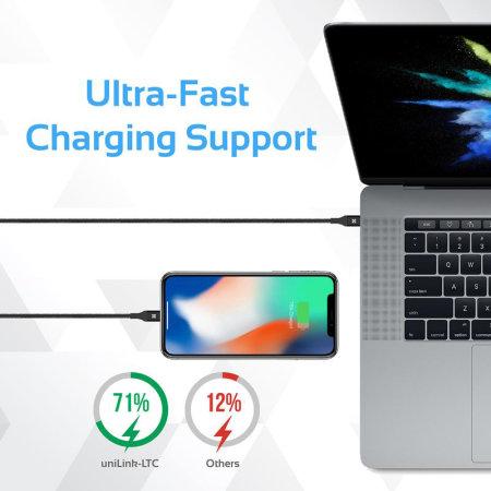 Promate UniLink-LTC iPhone 11 Pro Max USB-C to Lightning Cable-Black