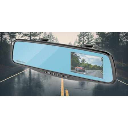 Forever 2-in-1 Smart Rear View Mirror & Built-In Dash Cam - Black