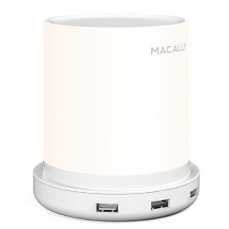 Macally Dimmable table lamp with 4 USB-A Ports - White