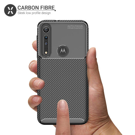 Olixar Carbon Fibre Motorola Moto G8 Plus Hoesje - Zwart