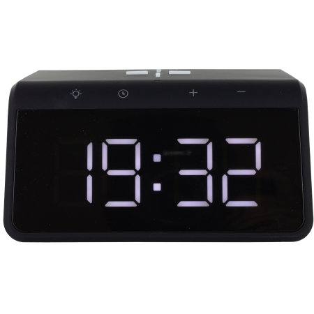 KSIX Pixel 4 Alarm Clock With Qi Fast Charge Wireless Charger - Black