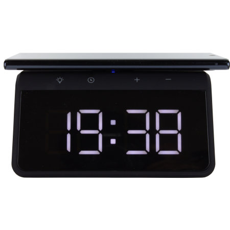 KSIX Note 10 Alarm Clock w Qi Fast Charge Wireless Charger-Black