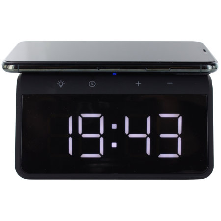 KSIX iPhone 11 Alarm Clock w Fast Charge Wireless Charger-Black