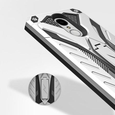 Zizo Static Kickstand & Tough Case For LG K8 2017 - Silver / Black