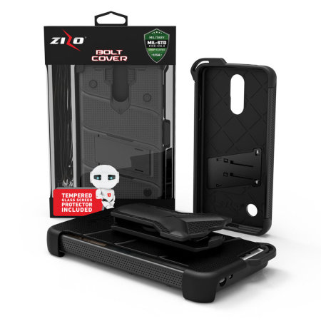 Zizo Bolt Series LG Aristo 3 Plus Case & Screen Protector - Black