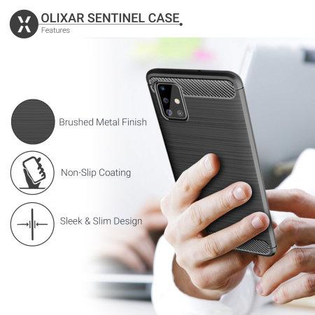 Olixar Sentinel Samsung A51 Case & Glass Screen Protector - Black