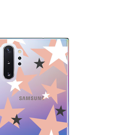 LoveCases Samsung Note 10 Plus Pink Star Clear Phone Case