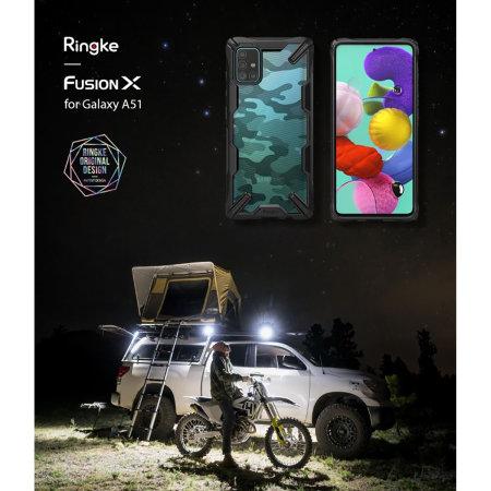 Ringke Fusion X Design Samsung Galaxy A51 Tough Case - Camo Black