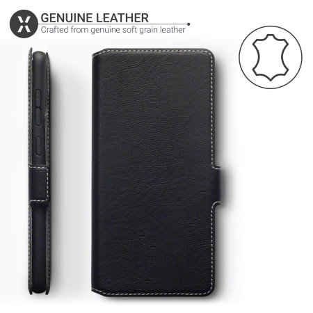 Olixar Slim Genuine Leather Samsung Galaxy A71 Wallet Case - Black