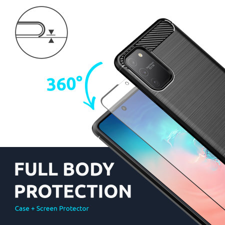 Olixar Sentinel Samsung S10 Lite Case & Glass Screen Protector- Black