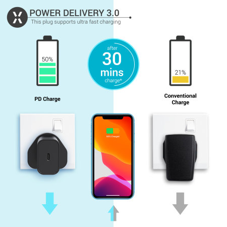 Olixar Power Delivery 18W Single USB-C Wall Charger - UK Plug - Black