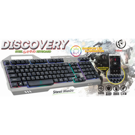 Rebeltec Discovery LED Gaming Keyboard & Smartphone Holder - Metal