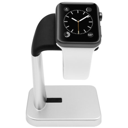 Macally Apple Watch Stand Holder - Silver / Black