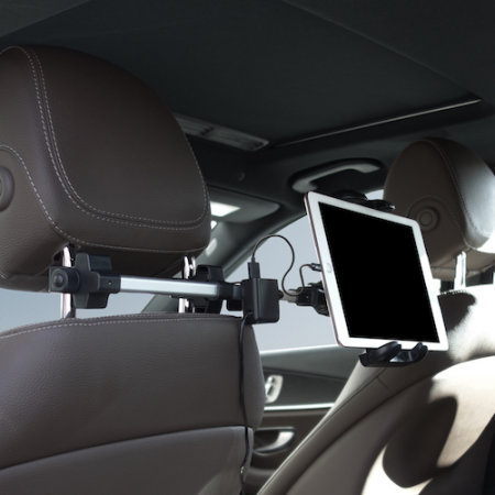 Macally Car Headrest Holder For Tablet W/ 4 USB Charging Ports - Black