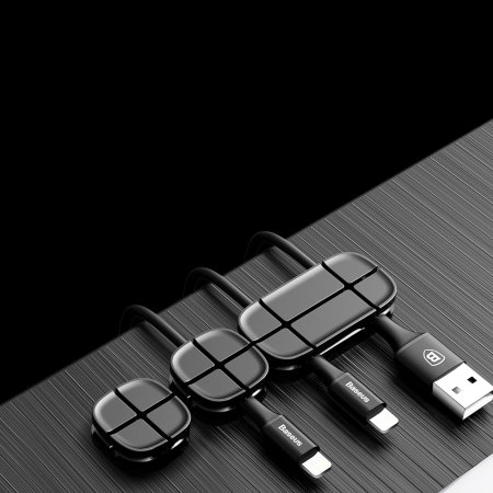 Baseus Cross Peas Adhesive 3 Port Premium Cable Organiser - Black