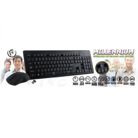 Rebeltec Wireless Bluetooth Keyboard & Mouse With Number Pad - Black