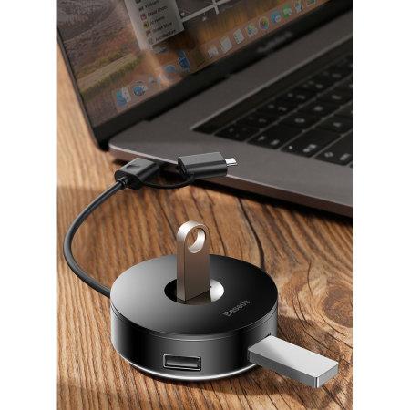 Baseus 4-in-1 USB Adapter Splitter Hub W/ Micro USB/USB-C Cable- Black