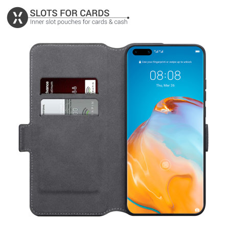 Olixar Slim Genuine Leather Huawei P40 Pro Wallet Case - Black