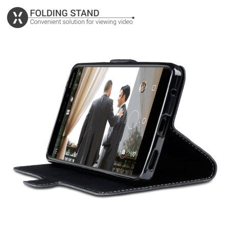 Olixar Slim Genuine Leather Huawei P40 Wallet Case - Black