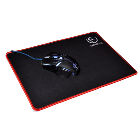 Rebeltec Ultra Glide Non-Slip Universal Office Mouse Mat - Black/Red