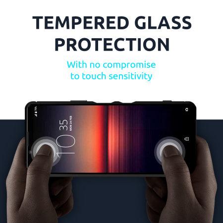 Olixar Sentinel Sony Xperia 1 II Case & Glass Screen Protector – Black