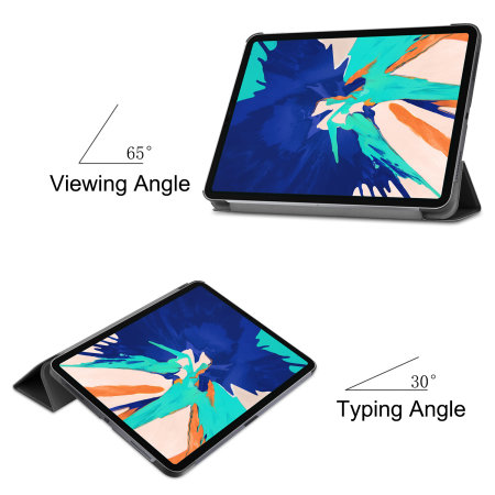 "Olixar Leather-style iPad Pro 12.9"" 2020 Folio Stand Case - Black"