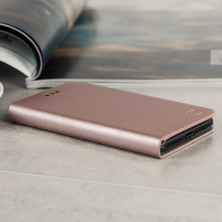 Olixar Leather-Style iPhone SE 2020 Wallet Stand Case - Rose Gold