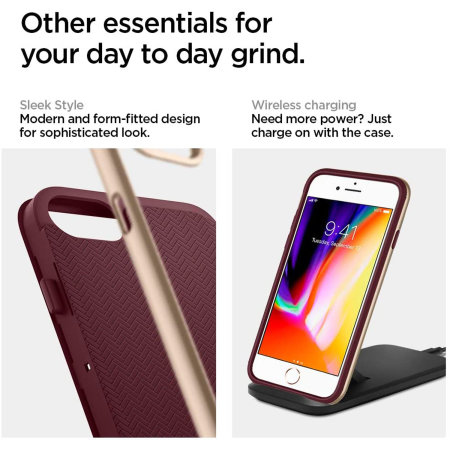Spigen Neo Hybrid Herringbone iPhone SE 2020 Case - Burgundy