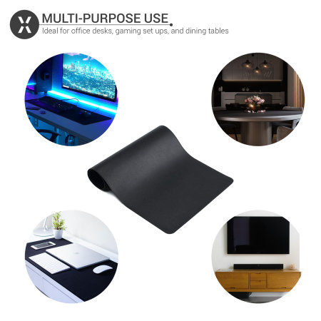 Olixar Full Size Office Desk/Gaming Multi-functional Leather Mat-Black
