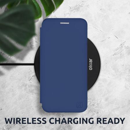 Olixar Soft Silicone iPhone 7 Wallet Case - Navy Blue