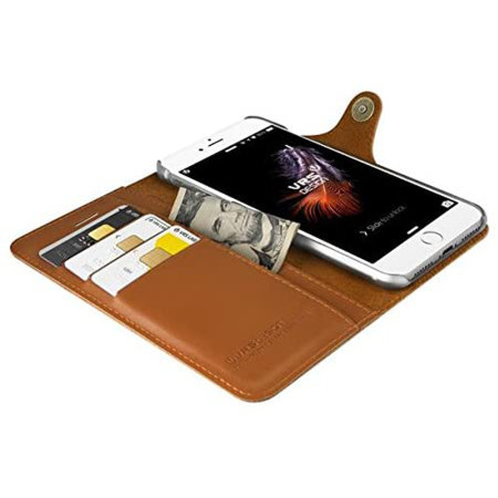 VRS Design Native Leather Diary iPhone SE 2020 Case - Brown
