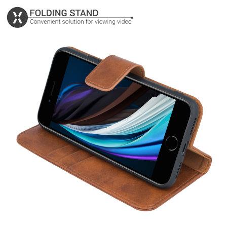 Olixar Genuine Leather iPhone SE 2020 Wallet Case - Brown