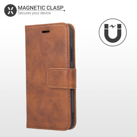 Olixar Genuine Leather iPhone SE 2020 Wallet Case - Brown